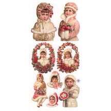 1 Sheet of Stickers Pink Christmas Girls